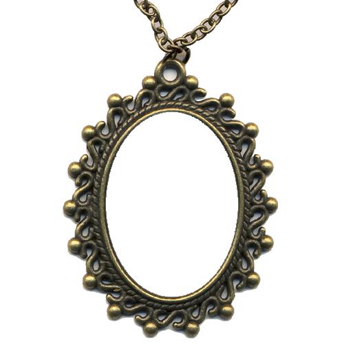 Bronz színű medál lánccal - M04
