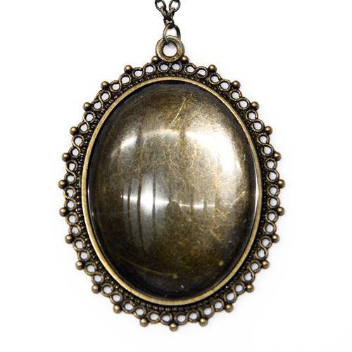 Antikolt bronz pöttyös medál lánccal - M09