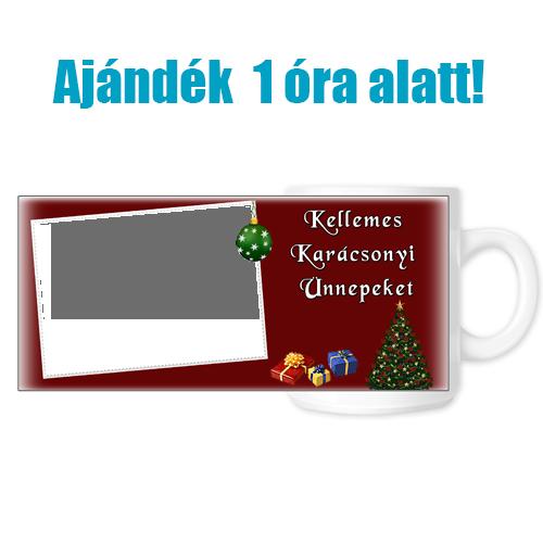 Fényképes ajándéktárgyKarácsonyi Fehér Bögre - 1 óra alatt