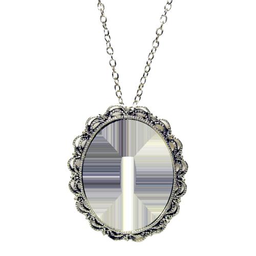 Fényképes ajándéktárgyAntikolt ezüst színű medál lánccal - M05