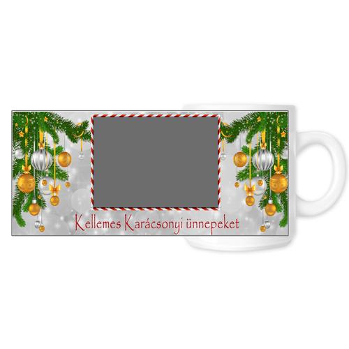Fényképes ajándéktárgyFehér Bögre Karácsonyi Minta 9 - Teljes palást