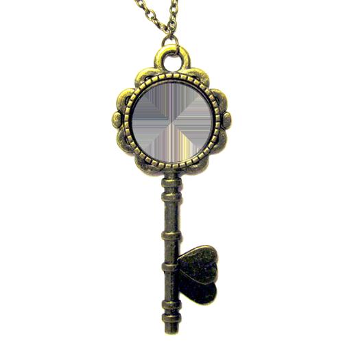 Fényképes ajándéktárgyAntikolt bronz kulcs alakú medál lánccal - M07