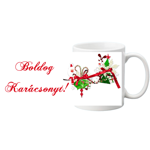 Fényképes ajándéktárgyFehér bögre - Boldog Karácsonyt 3