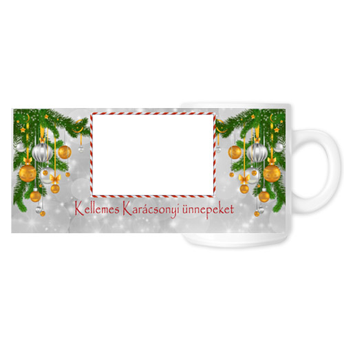 Fényképes ajándéktárgyKarácsonyi Fehér Bögre - Teljes palást - B3