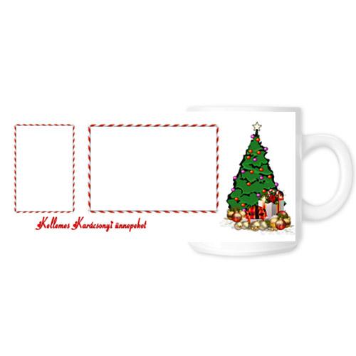Fényképes ajándéktárgyKarácsonyi Fehér Bögre - Teljes palást - B1