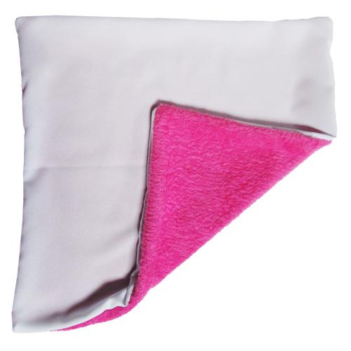 Rózsaszín Plüss huzat + párna 33x33 képpel