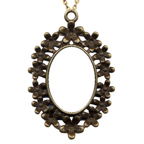 Fényképes ajándéktárgyAntikolt bronz virágos medál lánccal - M11