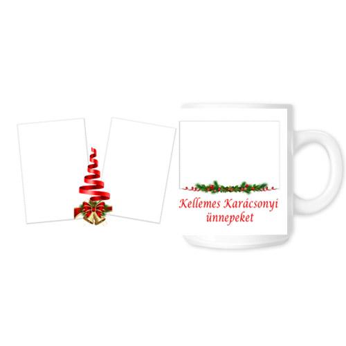 Fényképes ajándéktárgyKarácsonyi Fehér Bögre - Teljes palást - B2